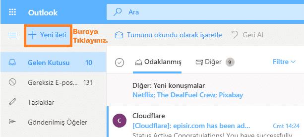 hotmail mail nasıl gönderilir
