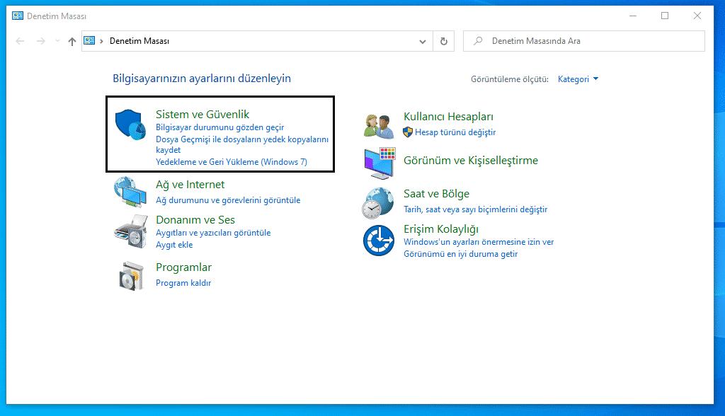 Denetim Masasından Bilgisayar Özellikleri Bakma